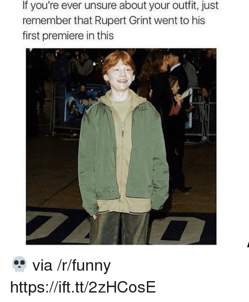 Funny, Via, and Rupert Grint: If you're ever unsure about your outfit, just  remember that Rupert Grint went to his  first premiere in this 💀 via /r/funny https://ift.tt/2zHCosE