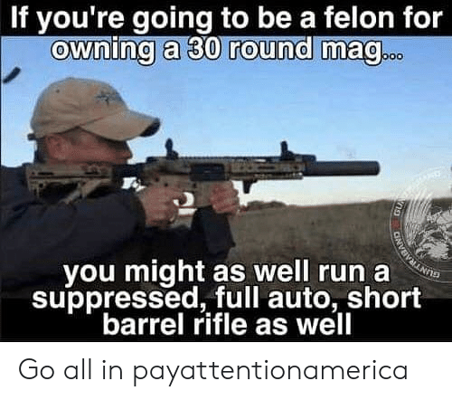 Memes, Run, and 🤖: If you're going to be a felon for  ownina a 30 round ma@  vou might as well run a  suppressed, full auto, short  barrel rifle as well Go all in payattentionamerica