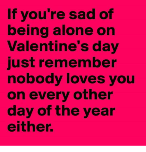 Being Alone, Valentine's Day, and Sad: If you're sad of  being alone on  Valentine's day  just remember  nobody loves you  on every other  day of the year  either.