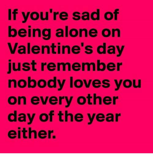 Being Alone, Love, And Relationships: If Youu0027re Sad Of Being Alone On Valentineu0027s  Day Just Remember Nobody Loves You On Every Other Day Of The Year Either.