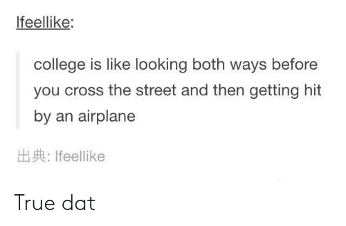 College, True, and Airplane: Ifeellike:  college is like looking both ways before  you cross the street and then getting hit  by an airplane  Ifeellike True dat