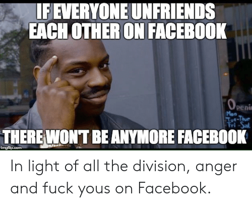 Facebook, Fuck You, and The Division: IFEVERYONE UNFRIENDS  EACH OTHER ON FACEBOOK  Peni  Mon  THERE WONT BEANYMORE FACEBOOK  imgfilip.com In light of all the division, anger and fuck yous on Facebook.