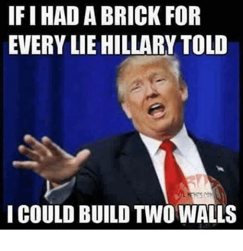 Memes, 🤖, and Brick: IFI HAD A BRICK FOR  EVERY LIE HILLARY TOLD  I COULD BUILD TWO WALLS