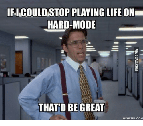IFICOULDSTOP PLAYING LIFE ON HARD-MODE THATD BE GREAT HEMEFULCOH | Life Meme  on ME.ME