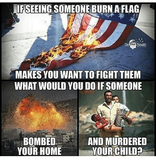 IFSEEING SOMEONE BURN a FLAG MAKES YOU WANT TO FIGHT THEM