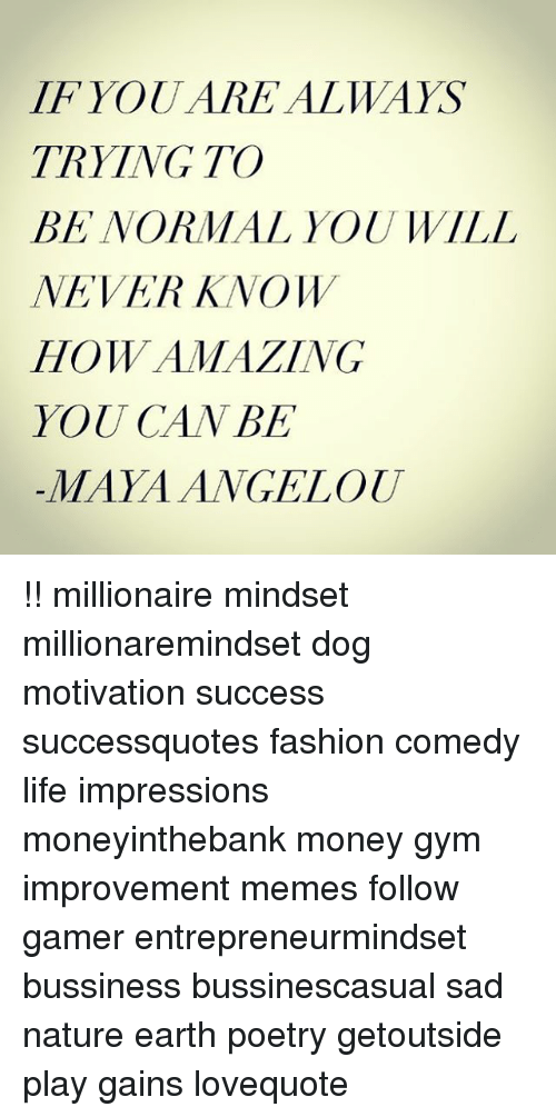 Fashion, Gym, and Life: IFYOUARE ALWAYS  TRYING TO  BE NORMAL YOUWILL  NEVER KNOW  HOW AMAZING  YOU CAN BE  -MAYAANGELou !! millionaire mindset millionaremindset dog motivation success successquotes fashion comedy life impressions moneyinthebank money gym improvement memes follow gamer entrepreneurmindset bussiness bussinescasual sad nature earth poetry getoutside play gains lovequote