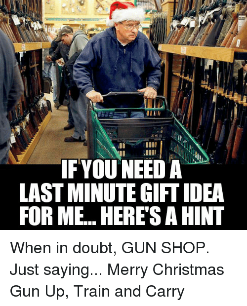 Ifyouneed A Last Minute Giftidea For Me Here S A Hint When In Doubt Gun Shop Just Saying Merry Christmas Gun Up Train And Carry Christmas Meme On Me Me