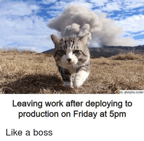 Friday, Work, and Boss: IG: @alpha.coder  Leaving work after deploying to  production on Friday at 5pm Like a boss