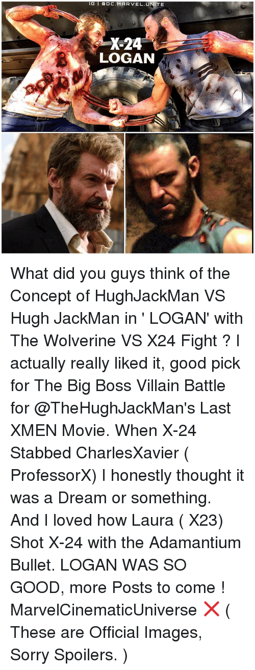 A Dream, Memes, and Hugh Jackman: IG I DC. MARVEL. TE  X-24  LOGAN What did you guys think of the Concept of HughJackMan VS Hugh JackMan in ' LOGAN' with The Wolverine VS X24 Fight ? I actually really liked it, good pick for The Big Boss Villain Battle for @TheHughJackMan's Last XMEN Movie. When X-24 Stabbed CharlesXavier ( ProfessorX) I honestly thought it was a Dream or something. And I loved how Laura ( X23) Shot X-24 with the Adamantium Bullet. LOGAN WAS SO GOOD, more Posts to come ! MarvelCinematicUniverse ❌ ( These are Official Images, Sorry Spoilers. )