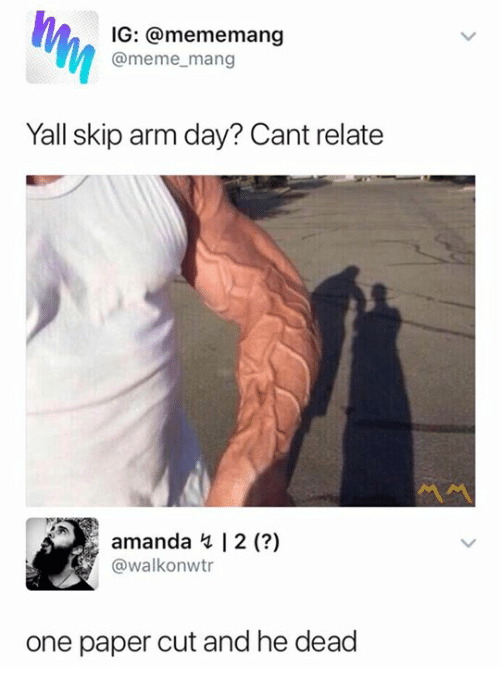 how to cut arm properly meme