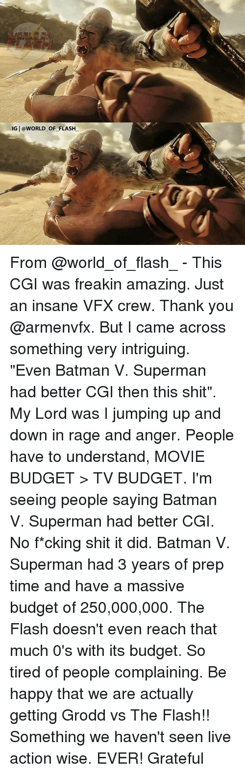 "Batman, Memes, and Superman: IG @WORLD OF FLASH From @world_of_flash_ - This CGI was freakin amazing. Just an insane VFX crew. Thank you @armenvfx. But I came across something very intriguing. ""Even Batman V. Superman had better CGI then this shit"". My Lord was I jumping up and down in rage and anger. People have to understand, MOVIE BUDGET > TV BUDGET. I'm seeing people saying Batman V. Superman had better CGI. No f*cking shit it did. Batman V. Superman had 3 years of prep time and have a massive budget of 250,000,000. The Flash doesn't even reach that much 0's with its budget. So tired of people complaining. Be happy that we are actually getting Grodd vs The Flash!! Something we haven't seen live action wise. EVER! Grateful"