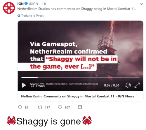 IGN@IGN 1h NetherRealm Studios Has Commented on Shaggy Being
