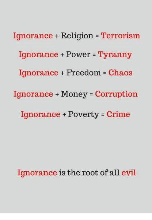 Crime, Memes, and Money: Ignorance + Religion Terrorism  Ignorance Power Tyranny  Ignorance + Freedom = Chaos  Ignorance Money Corruption  Ignorance Poverty Crime  Ignorance + Power =  Tyranny  Ignorance is the root of all evil