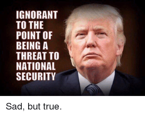 Ignorant, True, and Sad: IGNORANT  TO THE  POINT OF  BEING A  THREAT TO  NATIONAL  SECURITY Sad, but true.