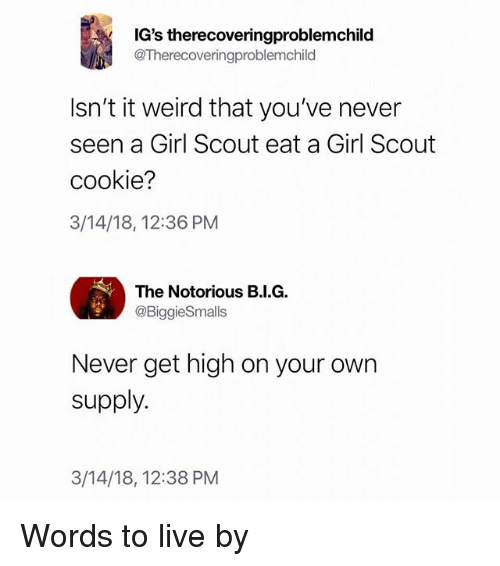 Funny, Weird, and Girl: IG's therecoveringproblemchild  @Therecoveringproblemchild  Isn't it weird that you've never  seen a Girl Scout eat a Girl Scout  cookie?  3/14/18, 12:36 PM  The Notorious B.I.G.  @BiggieSmalls  Never get high on your own  supply.  3/14/18, 12:38 PM Words to live by