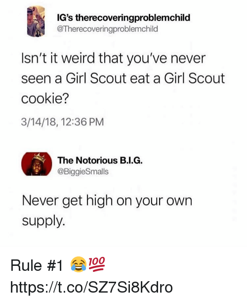 Weird, Girl, and Never: IG's therecoveringproblemchild  @Therecoveringproblemchild  Isn't it weird that you've never  seen a Girl Scout eat a Girl Scout  cookie?  3/14/18, 12:36 PM  The Notorious B.I.G.  @BiggieSmalls  Never get high on your own  supply. Rule #1 😂💯 https://t.co/SZ7Si8Kdro