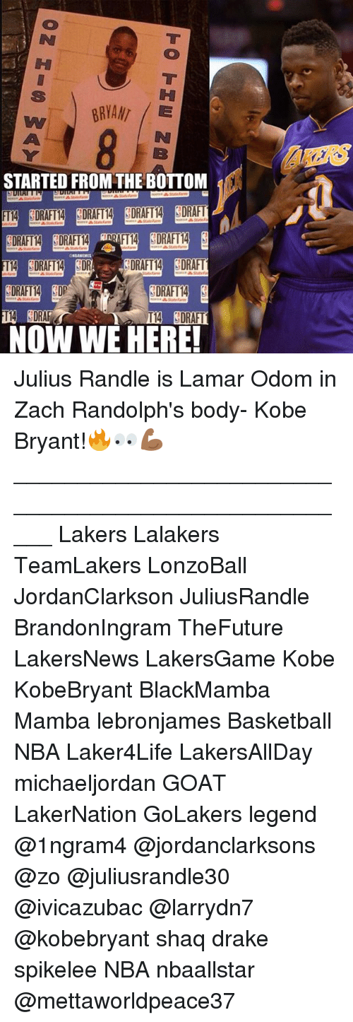 Basketball, Drake, and Kobe Bryant: IH  KERS  STARTED FROM THE BOTTOM  CNBAMEMES  2DRAFTA (DRAFT  SDRAFT14  NOW WE HERE! Julius Randle is Lamar Odom in Zach Randolph's body- Kobe Bryant!🔥👀💪🏾 _____________________________________________________ Lakers Lalakers TeamLakers LonzoBall JordanClarkson JuliusRandle BrandonIngram TheFuture LakersNews LakersGame Kobe KobeBryant BlackMamba Mamba lebronjames Basketball NBA Laker4Life LakersAllDay michaeljordan GOAT LakerNation GoLakers legend @1ngram4 @jordanclarksons @zo @juliusrandle30 @ivicazubac @larrydn7 @kobebryant shaq drake spikelee NBA nbaallstar @mettaworldpeace37
