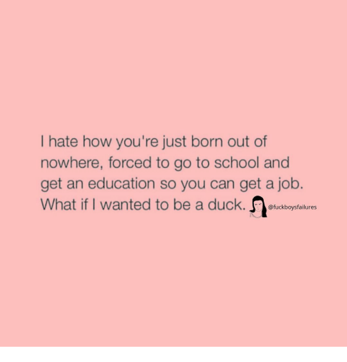 School, Duck, and Girl Memes: Ihate how you're just born out of  nowhere, forced to go to school and  get an education so you can get a job.  What if I wanted to be a duck. fuckboysfalures