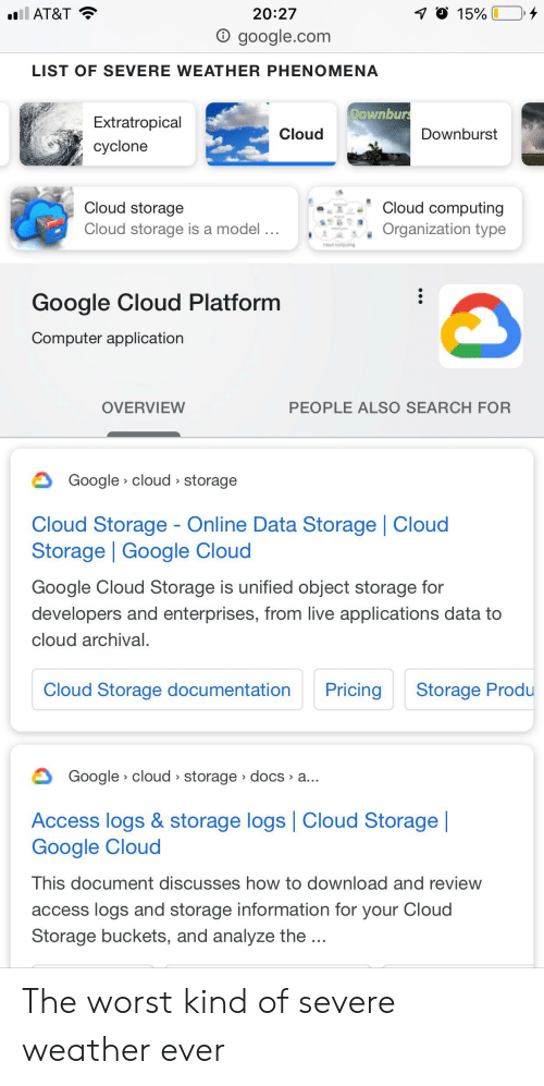 Google, The Worst, and Access: il AT&T  20:27  15%  O google.com  LIST OF SEVERE WEATHER PHENOMENA  DOwnburs  Extratropical  Cloud  Downburst  cyclone  Cloud computing  Cloud storage  Cloud storage is a model...  Organization type  Google Cloud Platform  Computer application  PEOPLE ALSO SEARCH FOR  OVERVIEW  Google cloud storage  Cloud Storage - Online Data Storage | Cloud  Storage Google Cloud  Google Cloud Storage is unified object storage for  developers and enterprises, from live applications data to  cloud archival.  Cloud Storage documentation  Pricing  Storage Produ  Google cloud storage docs a...  Access logs & storage logs Cloud Storage |  Google Cloud  This document discusses how to download and review  access logs and storage information for your Cloud  Storage buckets, and analyze the... The worst kind of severe weather ever
