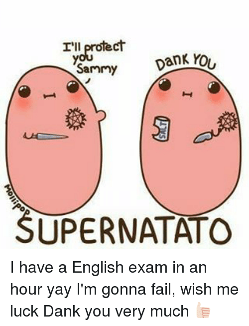 Memes, 🤖, and Danke: I'll  YOU  DanK  Sammy  SUPERNATATO I have a English exam in an hour yay I'm gonna fail, wish me luck Dank you very much 👍🏻