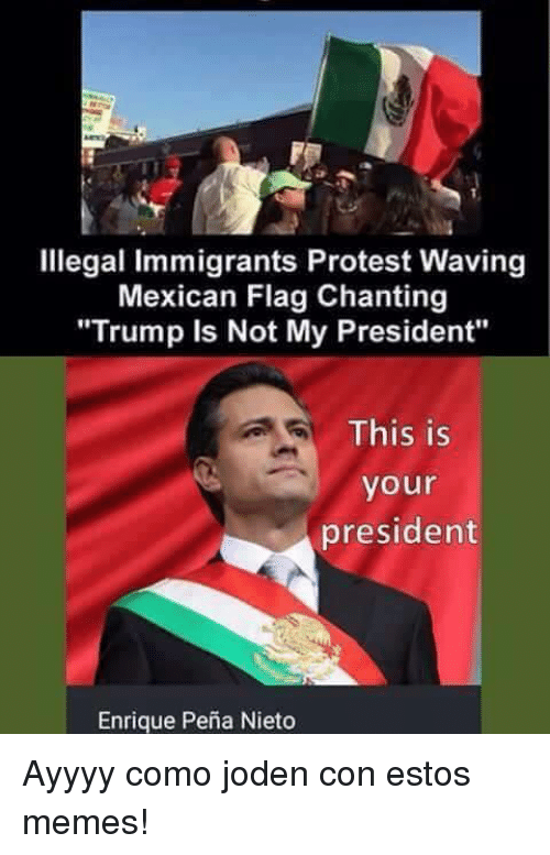 illegal immigrants protest waving mexican flag chanting trump is not 6824317 ✅ 25 best memes about enrique peña nieto enrique peña nieto memes
