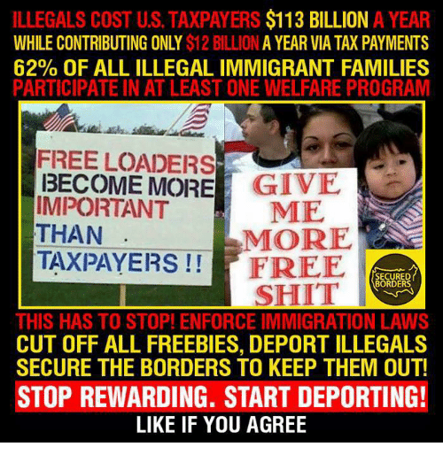 Memes, 🤖, and Welfare: ILLEGALS COST US TAXPAYERS  $113 BILLION  A YEAR  WHILE CONTRIBUTING ONLY  $12 A YEAR VIA TAX PAYMENTS  62% OF ALLILLEGALIMMIGRANT FAMILIES  PARTICIPATE IN AT LEAST ONE WELFARE PROGRAM  FREE LOADERS  MORE  GIVE  IMPORTANT  ME  THAN  MORE  TAXPAYERS  FREE  BORDERS  SHIT  THIS HAS TO STOP! ENFORCE IMMIGRATION LAWS  CUT OFF ALL FREEBIES, DEPORT ILLEGALS  SECURE THE BORDERS TO KEEP THEM OUT!  STOP REWARDING. START DEPORTING!  LIKE IF YOU AGREE