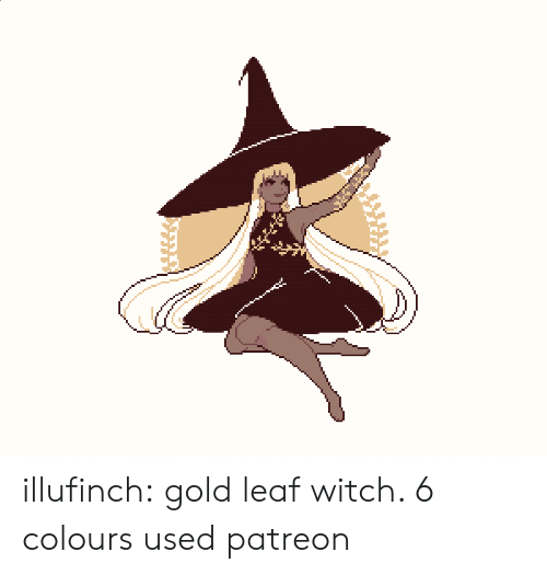 Target, Tumblr, and Blog: illufinch: gold leaf witch. 6 colours used  patreon