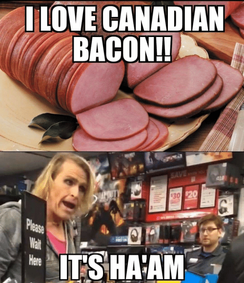 Canadian, Bacon, and Canadian Bacon: ILOVE CANADIAN  BACON!!  SAVE  ALD  POUTY  $30 $20  Please  Wait  FIEST ON  ITSHAAM  Here