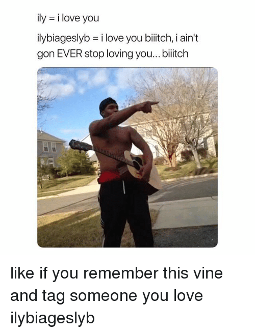 Love, Vine, and I Love You: ily i love you  ilybageslyb = i love you biiitch, i ain't  gon EVER stop loving you...biitch like if you remember this vine and tag someone you love ilybiageslyb