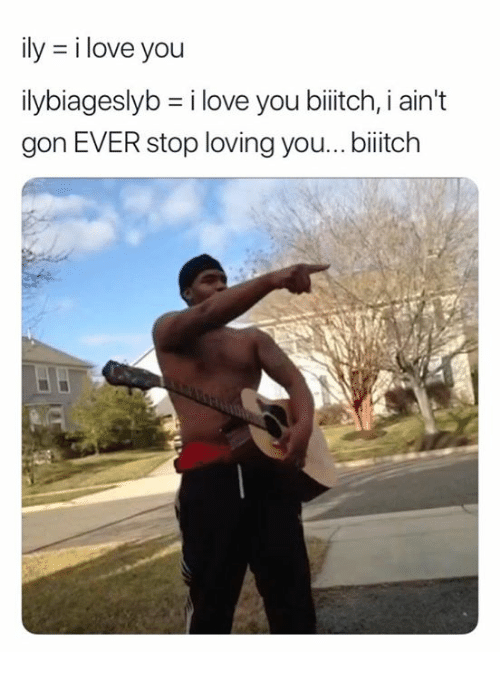 Love, I Love You, and Gon: ily = i love you  ilybiageslyb = i love you b tch, i ain't  gon EVER stop loving you..biitch