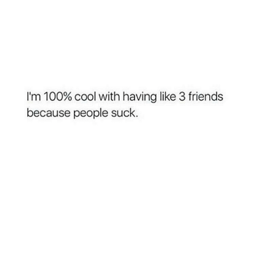 Memes, 🤖, and Ims: I'm 100% cool with having like 3 friends  because people suck.