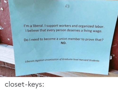 Tumblr, Blog, and Living: I'm a liberal. I support workers and organized labor.  I believe that every person deserves a living wage.  Do I need to become a union member to prove that?  NO.  rvard Students  Liberals Against Unionization of Graduote-level Ho closet-keys: