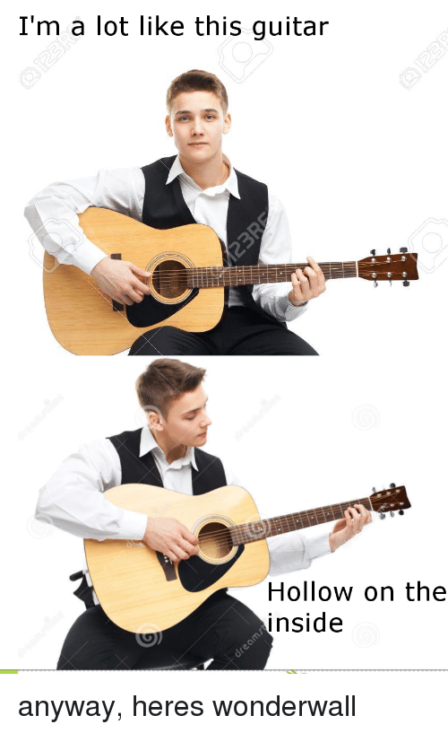 Wonderwall, Guitar, and Inside: I'm a lot like this guitar  Hollow on the  inside anyway, heres wonderwall