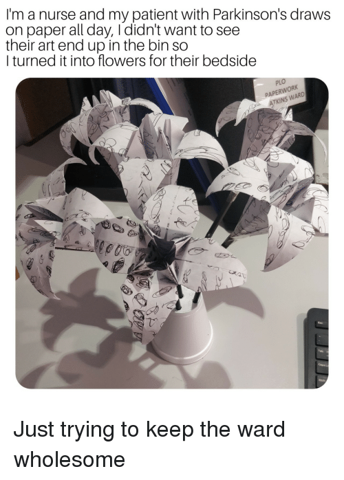 Flowers, Patient, and Wholesome: I'm a nurse and my patient with Parkinson's draws  on paper all day, Ididn't want to see  their art end up in the bin so  I turned it into flowers for their bedside  PLO  PAPERWORK  ATKINS WARD Just trying to keep the ward wholesome