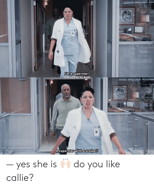 Memes, 🤖, and Yes: im a superstar!  OMGGGREYS 6x01  A superstar with a scalpel! — yes she is 🙌🏻 do you like callie?