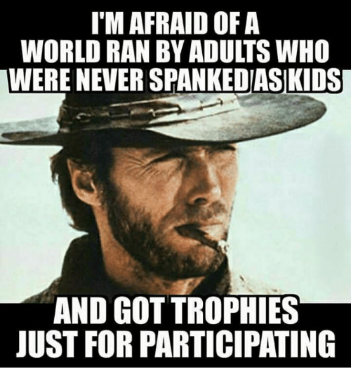 Memes, World, and Never: I'M AFRAID OFA  WORLD RAN BY ADULTS WHO  WERE NEVER SPANKEDIASIKIDS  AND GOT TROPHIES  JUST FOR PARTICIPATING