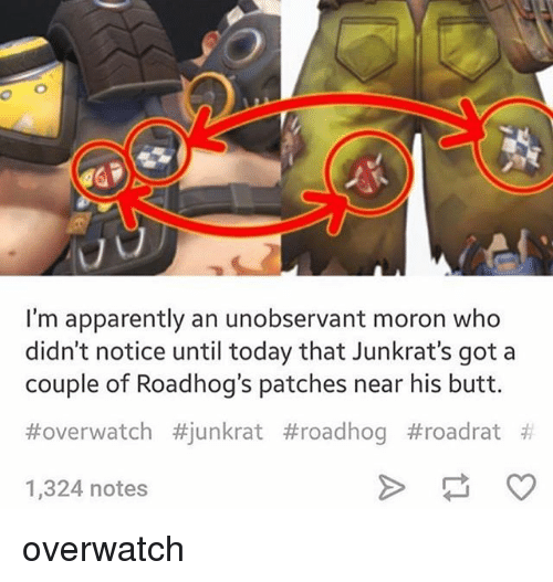 Apparently, Butt, and Memes: I'm apparently an unobservant moron who  didn't notice until today that Junkrat's got a  couple of Road hog's patches near his butt.  Hover watch #junkrat #roadhog t roadrat  1,324 notes overwatch