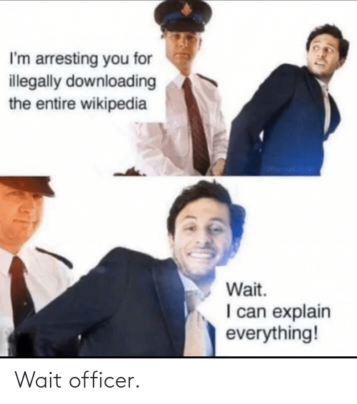Wikipedia, Can, and You: I'm arresting you for  illegally downloading  the entire wikipedia  Wait.  I can explain  everything! Wait officer.