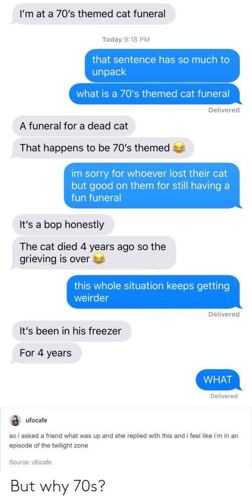 Sorry, Lost, and Good: I'm at a 70's themed cat funeral  Today 9:18 PM  that sentence has so much to  unpack  what is a 70's themed cat funeral  Delivered  A funeral for a dead cat  That happens to be 70's themed e  im sorry for whoever lost their cat  but good on them for still having a  fun funeral  It's a bop honestly  The cat died 4 years ago so the  grieving is over E  this whole situation keeps getting  weirder  Delivered  It's been in his freezer  For 4 years  WHAT  Delivered  ufocafe  so i asked a friend what was up and she replied with this and i feel like i'm in an  episode of the twilight zone  Source: ufocafe But why 70s?