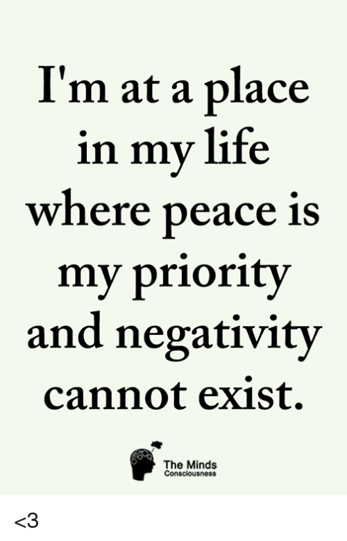 i m at a place in my life where peace is my priority and negativity