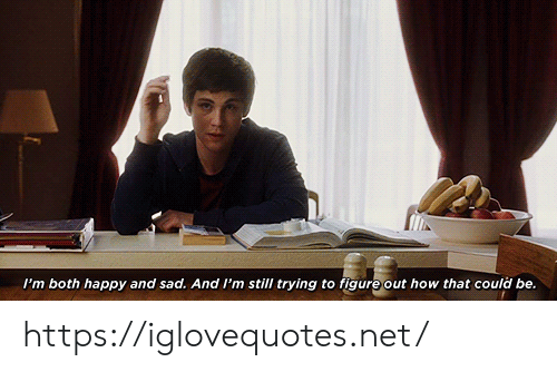 Happy, Sad, and How: I'm both happy and sad. And I'm still trying to figure out how that could be. https://iglovequotes.net/