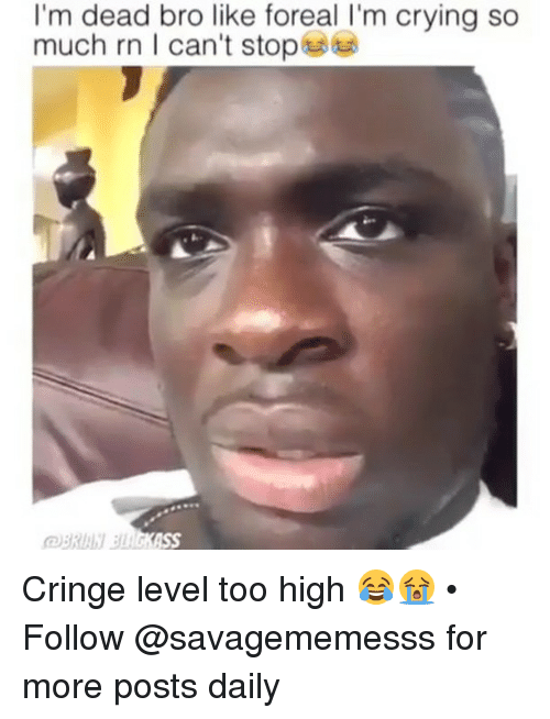 Crying, Memes, and Too High: I'm dead bro like foreal I'm crying so  much rn I can't stops Cringe level too high 😂😭 • ➫➫ Follow @savagememesss for more posts daily