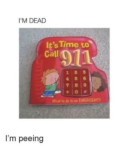 Memes, Time, and 🤖: I'M DEAD  It's Time to  Call  12 3  4 6 6  7 8 9  What to do in an EMERGENCY I'm peeing