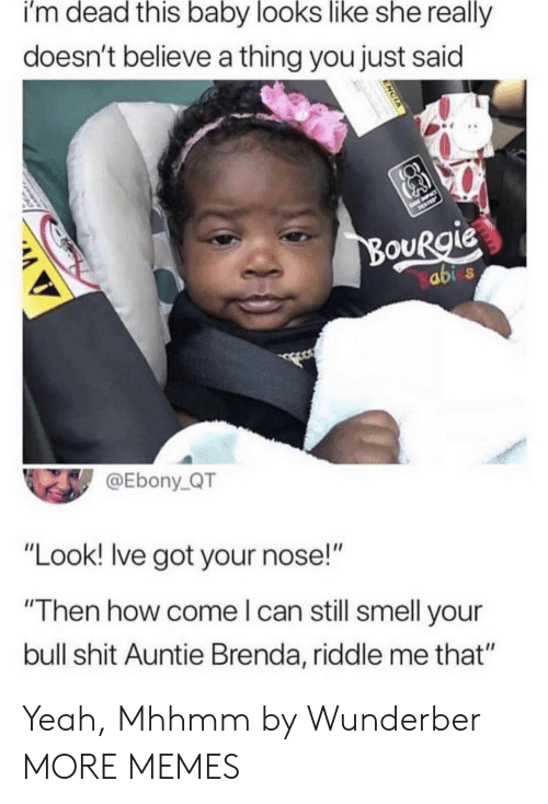 "Dank, Memes, and Shit: i'm dead this baby looks like she really  doesn't believe a thing you just said  ouRgie  abi  @Ebony_QT  ""Look! lve got your nose!""  ""Then how come l can still smell your  bull shit Auntie Brenda, riddle me that"" Yeah, Mhhmm by Wunderber MORE MEMES"