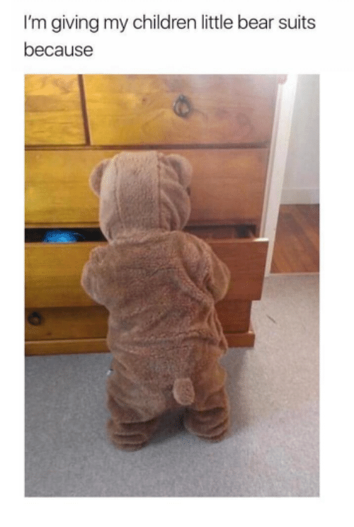 Children, Memes, and Bear: I'm giving my children little bear suits  because