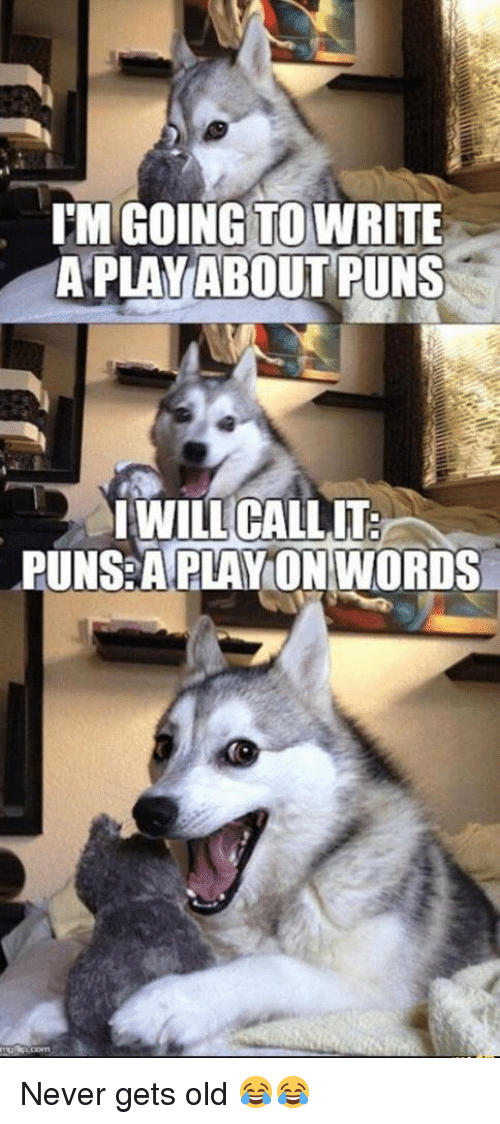 IM GOING TO WRITE a PLAY ABOUT PUNS I WILL CALL IT PUNS a PLAY ON