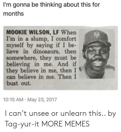 Dank, Memes, and Target: I'm gonna be thinking about this for  months  MOOKIE WILSON, LF When  I'm in a slump, I comfort  myself by saying if I be-  lieve in dinosaurs, then  somewhere, they must be  believing in me. And if  they believe in me, then I S  can believe in me. Then I  bust out  10:15 AM May 23, 2017 I can't unsee or unlearn this.. by Tag-yur-it MORE MEMES