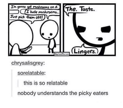 Relatable, Humans of Tumblr, and Understanding: Im gonna  Mushrooms on  The. Taste  hade mushrooms.  N  Just pick  offl  Lingers  chrysalisgrey:  sorelatable:  this is so relatable  nobody understands the picky eaters