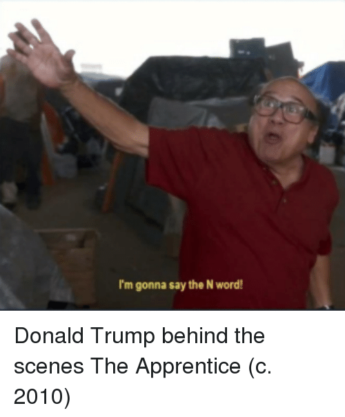 Donald Trump, Trump, and Word: I'm gonna say the N word! Donald Trump behind the scenes The Apprentice (c. 2010)