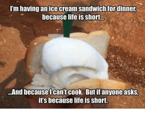 Life, Memes, and Ice Cream: I'm having an ice cream sandwich for dinner  because life is short-  ...And because Ican't cook. Butifanyone asks.  it's because life is short.